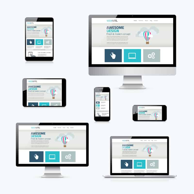 image showing responsive design with many devices
