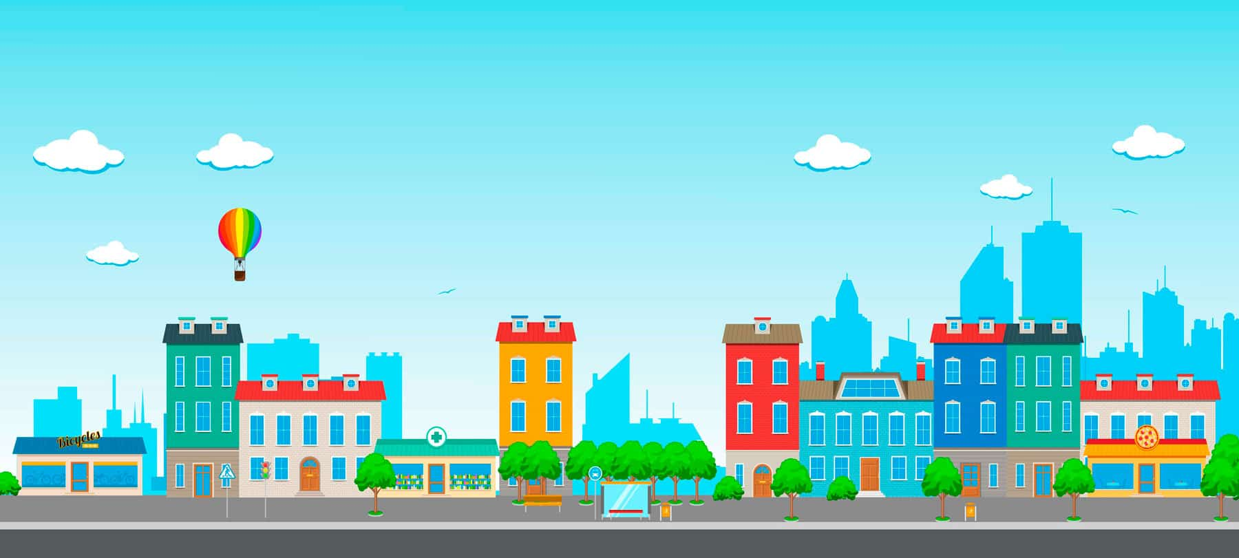Banner for Piper Web Design of cityscape in bright colors